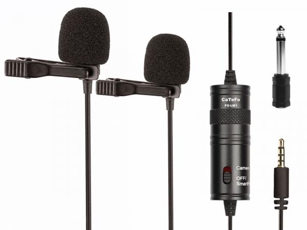 CaTeFo FO-LM1D Dual Lapel Lavalier Microphone