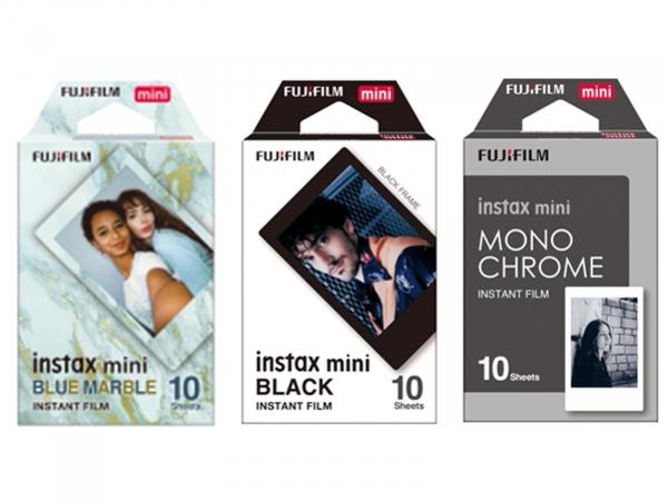 FujiFilm Instax Classic Bundle 30 Shots (Black Frame, Blue Marble & Monochrome)