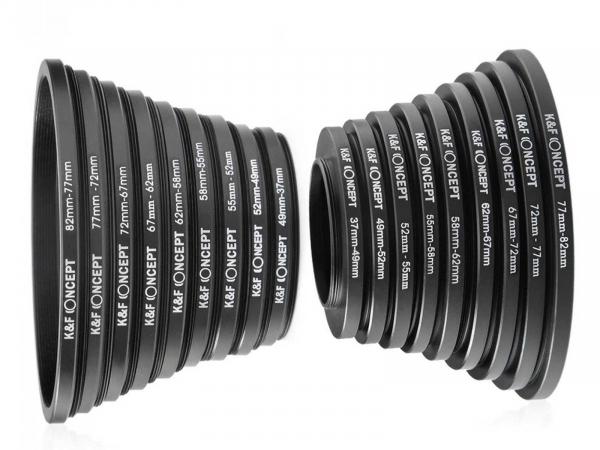K&F 18 in 1 Lens Filter Step Ring Set 9pcs Step Up Ring & 9pcs Step Down Ring